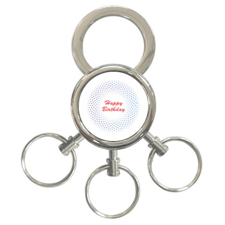 Halftone Circle With Squares 3-Ring Key Chain