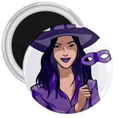 Purple Witch 3  Button Magnet by FunWithFibro