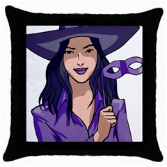 Purple Witch Black Throw Pillow Case by FunWithFibro
