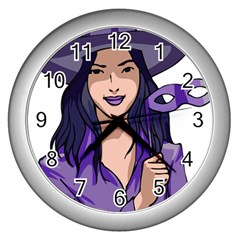 Purple Witch Wall Clock (silver) by FunWithFibro