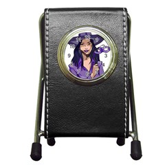 Purple Witch Stationery Holder Clock by FunWithFibro