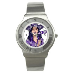 Purple Witch Stainless Steel Watch (slim) by FunWithFibro