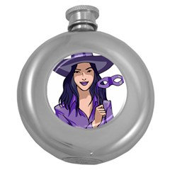 Purple Witch Hip Flask (round) by FunWithFibro