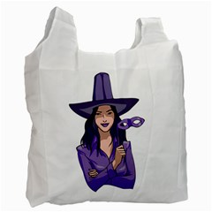 Purple Witch White Reusable Bag (one Side) by FunWithFibro