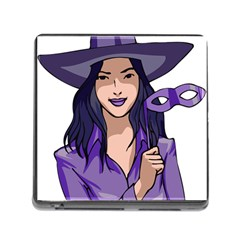 Purple Witch Memory Card Reader With Storage (square) by FunWithFibro