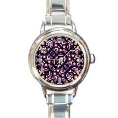 Colorful Tribal Pattern Print Round Italian Charm Watch by dflcprints