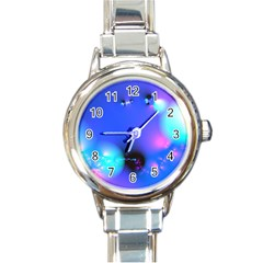 Love In Action, Pink, Purple, Blue Heartbeat 10000x7500 Round Italian Charm Watch by DianeClancy