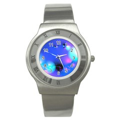 Love In Action, Pink, Purple, Blue Heartbeat 10000x7500 Stainless Steel Watch (slim) by DianeClancy