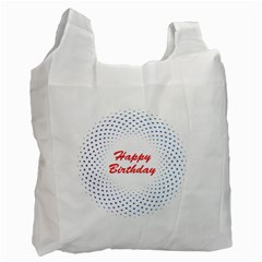 Halftone Circle With Squares White Reusable Bag (one Side) by rizovdesign