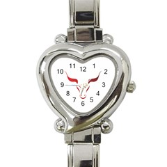 Stylized Symbol Red Bull Icon Design Heart Italian Charm Watch