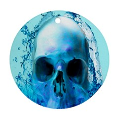 Skull In Water Round Ornament by icarusismartdesigns