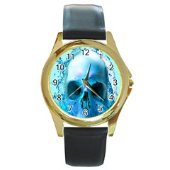 Skull In Water Round Leather Watch (gold Rim)  by icarusismartdesigns