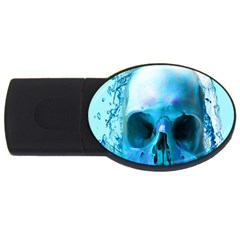 Skull In Water 4gb Usb Flash Drive (oval) by icarusismartdesigns