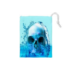 Skull In Water Drawstring Pouch (small)