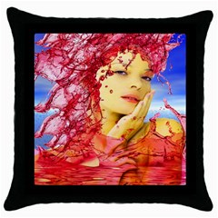 Tears Of Blood Black Throw Pillow Case by icarusismartdesigns