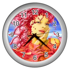 Tears Of Blood Wall Clock (silver) by icarusismartdesigns