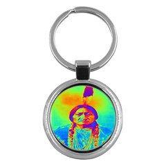 Sitting Bull Key Chain (round) by icarusismartdesigns