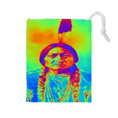 Sitting Bull Drawstring Pouch (large) by icarusismartdesigns