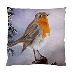 Robin On Log Cushion Case (single Sided)  by ArtByThree