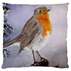 Robin On Log Large Cushion Case (two Sided)  by ArtByThree