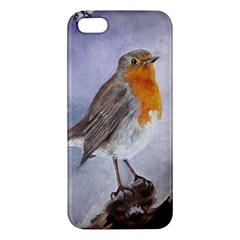 Robin On Log Iphone 5s Premium Hardshell Case by ArtByThree