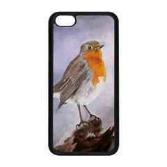 Robin On Log Apple Iphone 5c Seamless Case (black) by ArtByThree