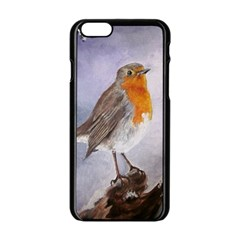 Robin On Log Apple Iphone 6 Black Enamel Case by ArtByThree