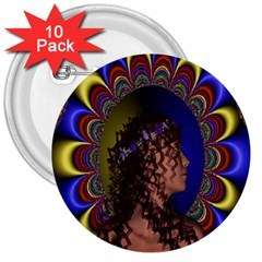New Romantic 3  Button (10 Pack)