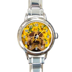 Sunflowers Round Italian Charm Watch by icarusismartdesigns