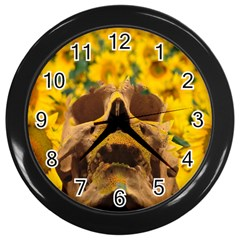 Sunflowers Wall Clock (black) by icarusismartdesigns