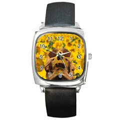 Sunflowers Square Leather Watch by icarusismartdesigns