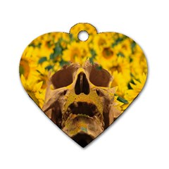 Sunflowers Dog Tag Heart (two Sided) by icarusismartdesigns