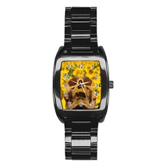 Sunflowers Stainless Steel Barrel Watch by icarusismartdesigns