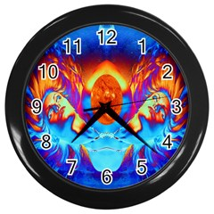 Escape From The Sun Wall Clock (black) by icarusismartdesigns