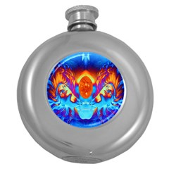 Escape From The Sun Hip Flask (round) by icarusismartdesigns