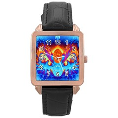 Escape From The Sun Rose Gold Leather Watch  by icarusismartdesigns