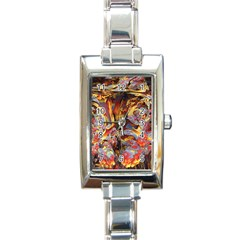 Abstract 4 Rectangular Italian Charm Watch by icarusismartdesigns