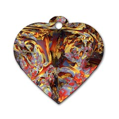 Abstract 4 Dog Tag Heart (one Sided)  by icarusismartdesigns