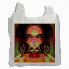 Cat Woman White Reusable Bag (two Sides) by icarusismartdesigns