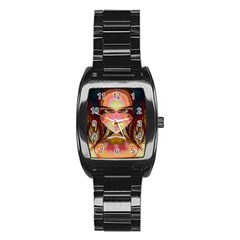 Cat Woman Stainless Steel Barrel Watch by icarusismartdesigns