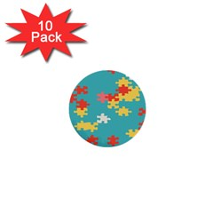 Puzzle Pieces 1  Mini Button (10 Pack) by LalyLauraFLM