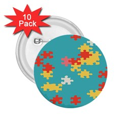 Puzzle Pieces 2 25  Button (10 Pack)