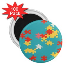 Puzzle Pieces 2 25  Button Magnet (100 Pack)