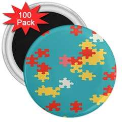 Puzzle Pieces 3  Button Magnet (100 Pack) by LalyLauraFLM