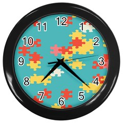 Puzzle Pieces Wall Clock (black)