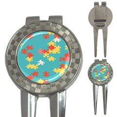 Puzzle Pieces Golf Pitchfork & Ball Marker by LalyLauraFLM