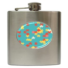 Puzzle Pieces Hip Flask by LalyLauraFLM