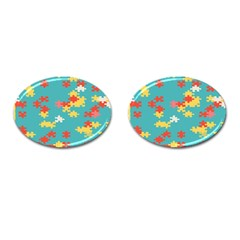 Puzzle Pieces Cufflinks (oval) by LalyLauraFLM