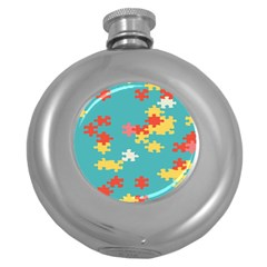 Puzzle Pieces Hip Flask (round)