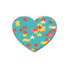 Puzzle Pieces Drink Coasters 4 Pack (heart)